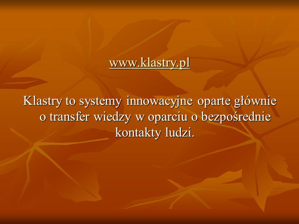 www.klastry.pl Klastry to systemy innowacyjne oparte głównie o transfer wiedzy w oparciu o bezpośrednie kontakty ludzi.