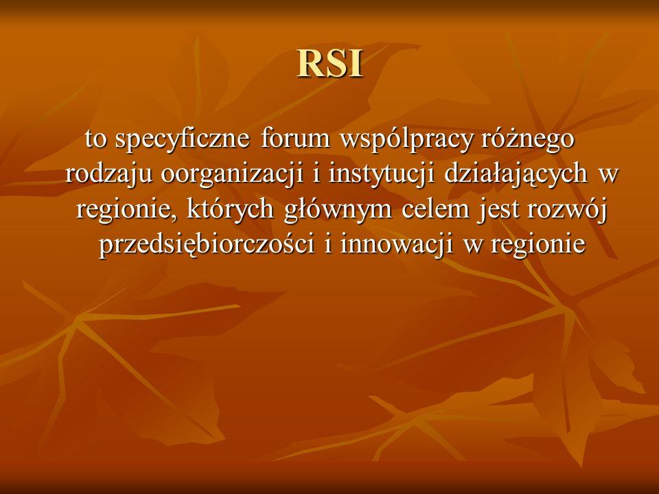 RSI to specyficzne forum wspólpracy różnego rodzaju oorganizacji i instytucji działających w regionie, których głównym celem jest rozwój przedsiębiorc