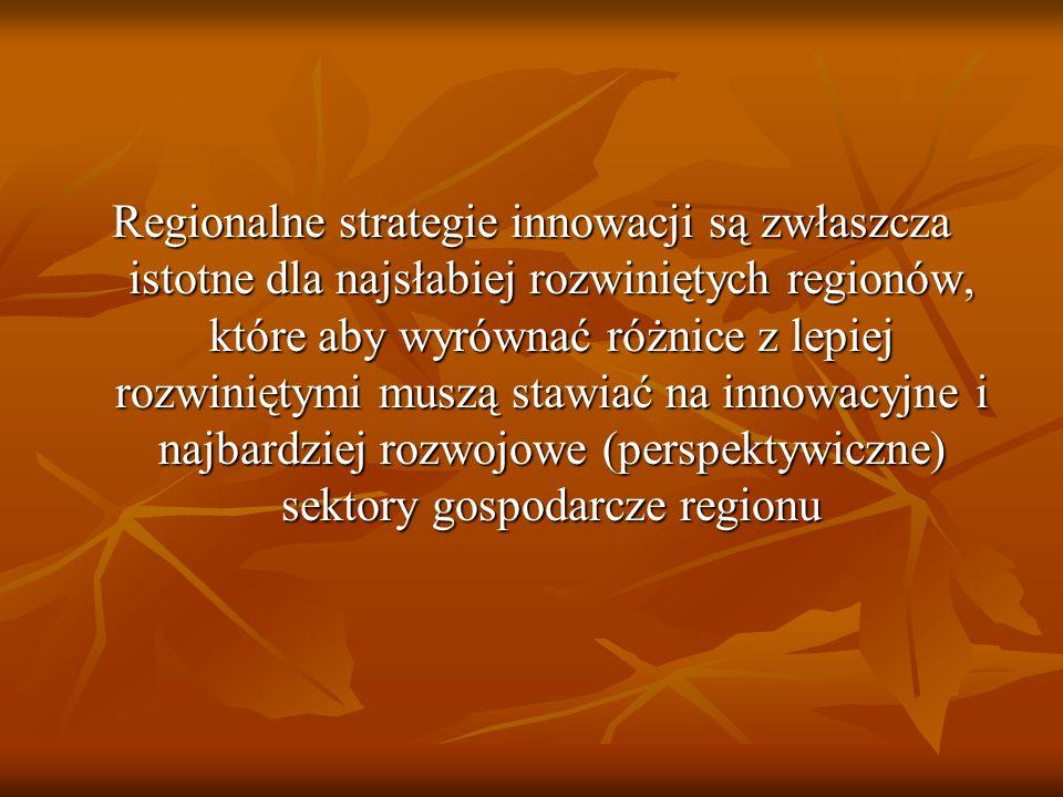 Założenia dla regionalnych strategii innowacji Partnerstwo i konsensus publiczno-prywatny Partnerstwo i konsensus publiczno-prywatny RSI powinny być zintegrowane i multidyscyplinarne RSI powinny być zintegrowane i multidyscyplinarne RSI powinny kłaść nacisk na stronę popytową RSI powinny kłaść nacisk na stronę popytową RSI powinny być zorientowane na działania RSI powinny być zorientowane na działania Regiony uczestniczące w RIS powinny wykorzystywać współpracę pomiędzy regionami i benchmarking polityk Regiony uczestniczące w RIS powinny wykorzystywać współpracę pomiędzy regionami i benchmarking polityk RIS powinny być cykliczne RIS powinny być cykliczne