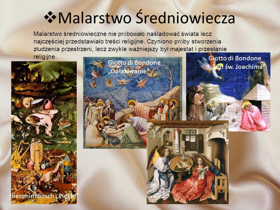 Malarstwo Średniowiecza Malarstwo średniowieczne nie pr ó bowało naśladować świata lecz najczęściej przedstawiało treści religijne. Czyniono pr ó by s