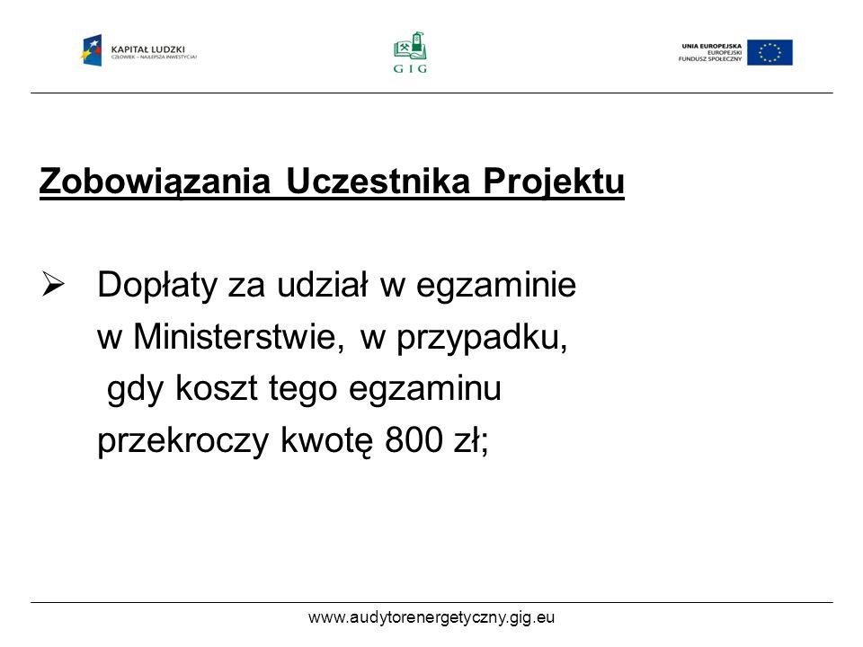 www.audytorenergetyczny.gig.eu Zobowiązania Uczestnika Projektu Dopłaty za udział w egzaminie w Ministerstwie, w przypadku, gdy koszt tego egzaminu przekroczy kwotę 800 zł;