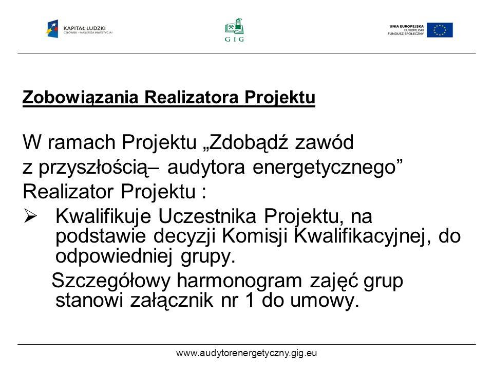 www.audytorenergetyczny.gig.eu Zobowiązania Realizatora Projektu W ramach Projektu Zdobądź zawód z przyszłością– audytora energetycznego Realizator Projektu : Kwalifikuje Uczestnika Projektu, na podstawie decyzji Komisji Kwalifikacyjnej, do odpowiedniej grupy.