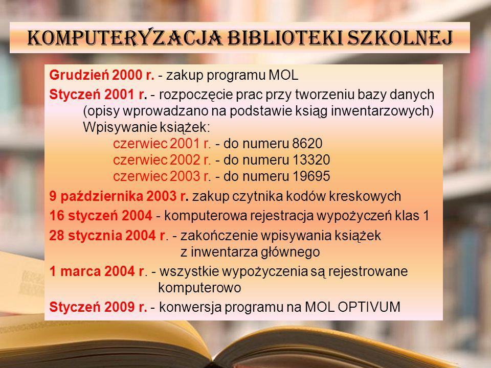 Komputeryzacja biblioteki szkolnej Grudzień 2000 r. - zakup programu MOL Styczeń 2001 r. - rozpoczęcie prac przy tworzeniu bazy danych (opisy wprowadz