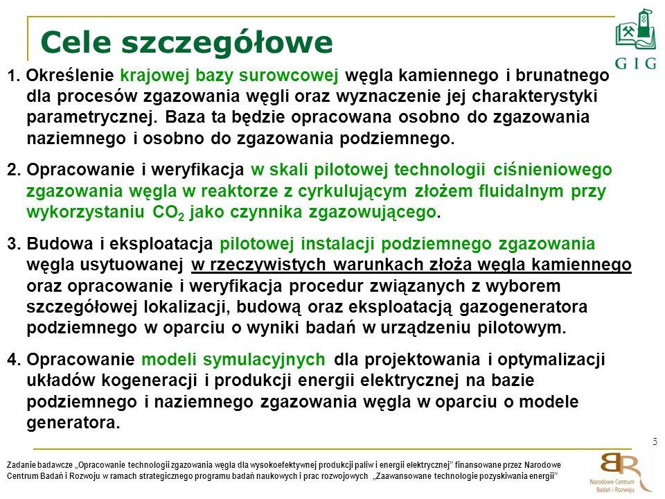 5 Zadanie badawcze Opracowanie technologii zgazowania węgla dla wysokoefektywnej produkcji paliw i energii elektrycznej finansowane przez Narodowe Cen