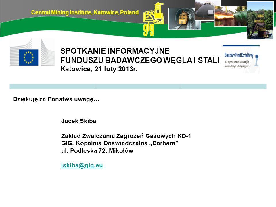 Central Mining Institute, Katowice, Poland Dziękuję za Państwa uwagę… Jacek Skiba Zakład Zwalczania Zagrożeń Gazowych KD-1 GIG, Kopalnia Doświadczalna