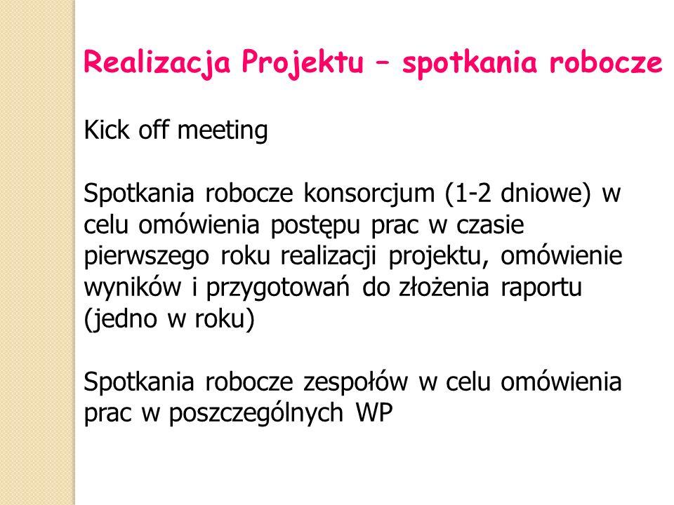 Realizacja Projektu – spotkania robocze Kick off meeting Spotkania robocze konsorcjum (1-2 dniowe) w celu omówienia postępu prac w czasie pierwszego r