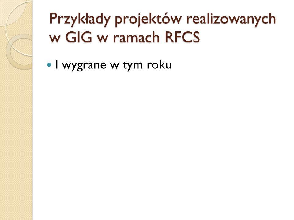 Przykłady projektów realizowanych w GIG w ramach RFCS I wygrane w tym roku