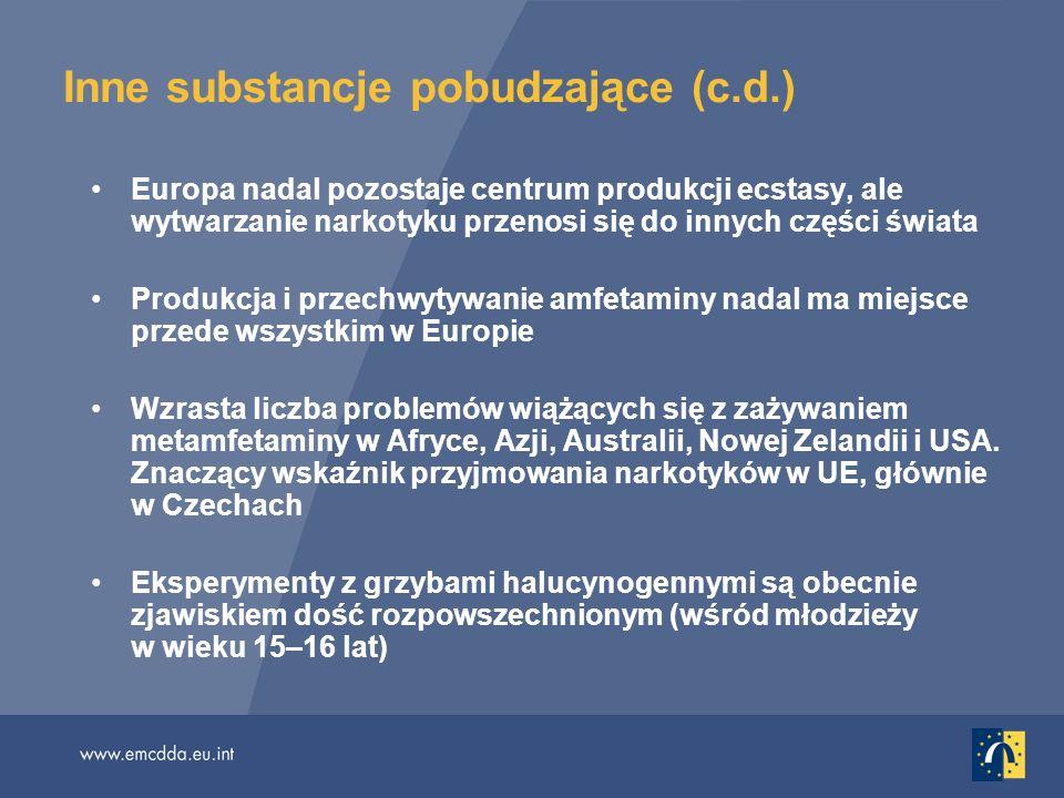 Inne substancje pobudzające (c.d.) Europa nadal pozostaje centrum produkcji ecstasy, ale wytwarzanie narkotyku przenosi się do innych części świata Produkcja i przechwytywanie amfetaminy nadal ma miejsce przede wszystkim w Europie Wzrasta liczba problemów wiążących się z zażywaniem metamfetaminy w Afryce, Azji, Australii, Nowej Zelandii i USA.
