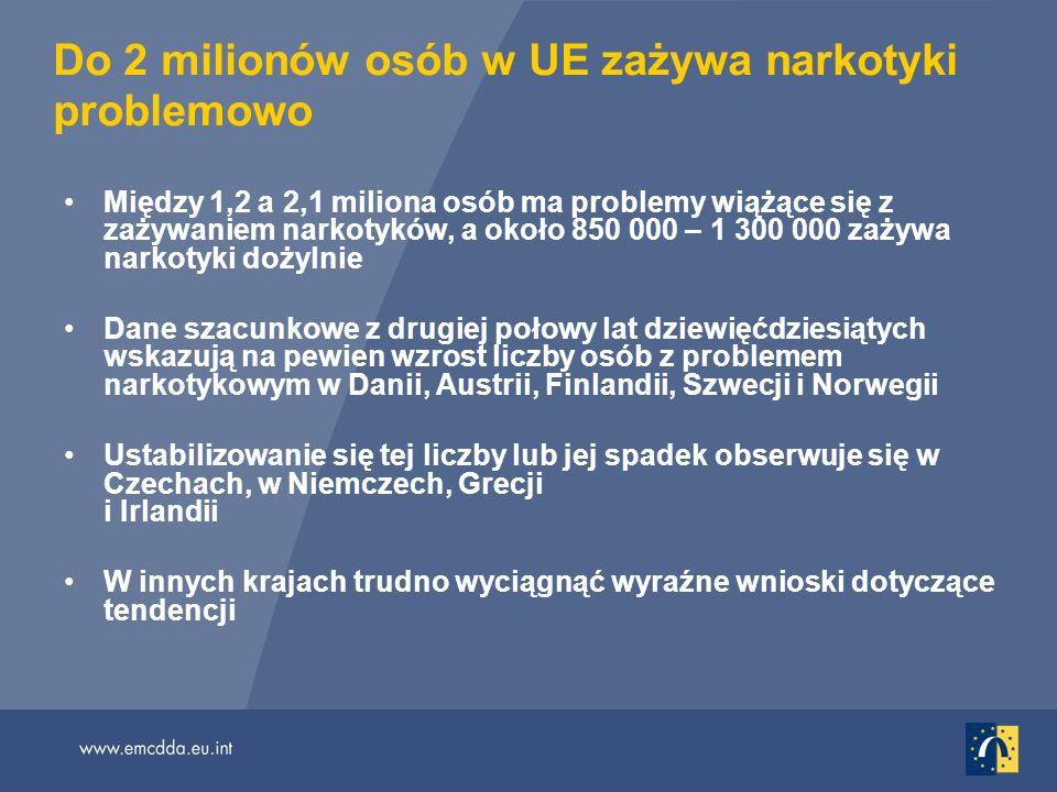 Do 2 milionów osób w UE zażywa narkotyki problemowo Między 1,2 a 2,1 miliona osób ma problemy wiążące się z zażywaniem narkotyków, a około 850 000 – 1