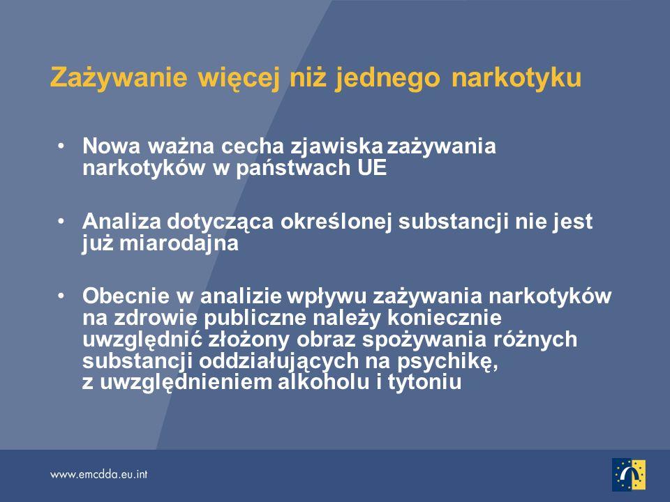 Zażywanie więcej niż jednego narkotyku Nowa ważna cecha zjawiska zażywania narkotyków w państwach UE Analiza dotycząca określonej substancji nie jest już miarodajna Obecnie w analizie wpływu zażywania narkotyków na zdrowie publiczne należy koniecznie uwzględnić złożony obraz spożywania różnych substancji oddziałujących na psychikę, z uwzględnieniem alkoholu i tytoniu
