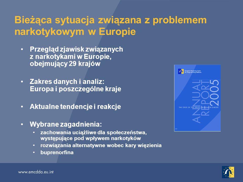 Bieżąca sytuacja związana z problemem narkotykowym w Europie Przegląd zjawisk związanych z narkotykami w Europie, obejmujący 29 krajów Zakres danych i analiz: Europa i poszczególne kraje Aktualne tendencje i reakcje Wybrane zagadnienia: zachowania uciążliwe dla społeczeństwa, występujące pod wpływem narkotyków rozwiązania alternatywne wobec kary więzienia buprenorfina
