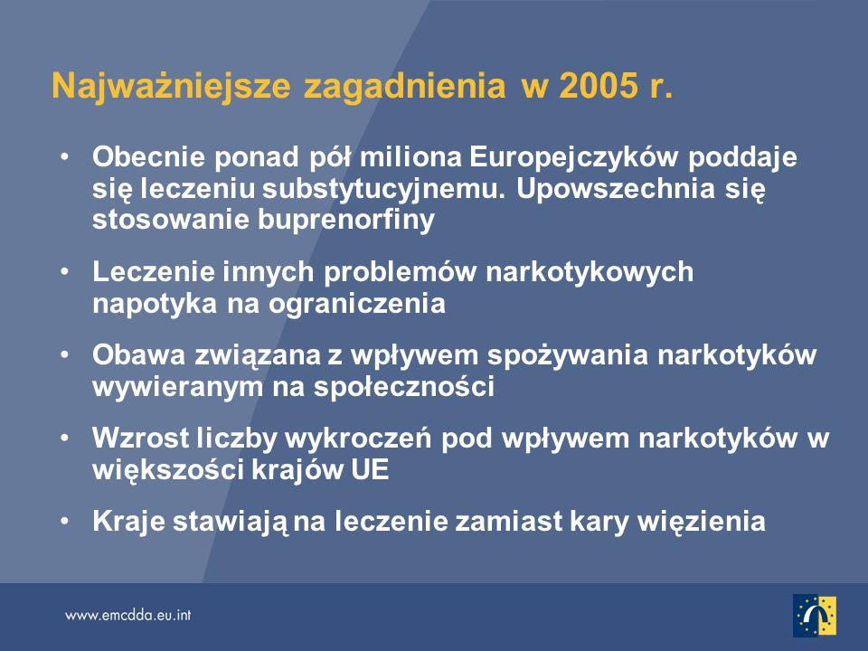 Najważniejsze zagadnienia w 2005 r. Obecnie ponad pół miliona Europejczyków poddaje się leczeniu substytucyjnemu. Upowszechnia się stosowanie buprenor