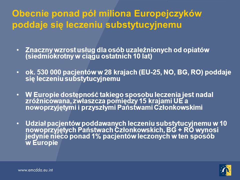 Obecnie ponad pół miliona Europejczyków poddaje się leczeniu substytucyjnemu Znaczny wzrost usług dla osób uzależnionych od opiatów (siedmiokrotny w ciągu ostatnich 10 lat) ok.