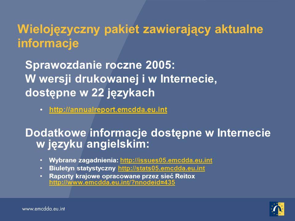 Wielojęzyczny pakiet zawierający aktualne informacje Sprawozdanie roczne 2005: W wersji drukowanej i w Internecie, dostępne w 22 językach http://annualreport.emcdda.eu.inthttp://annualreport.emcdda.eu.int Dodatkowe informacje dostępne w Internecie w języku angielskim: Wybrane zagadnienia: http://issues05.emcdda.eu.inthttp://issues05.emcdda.eu.int Biuletyn statystyczny http://stats05.emcdda.eu.inthttp://stats05.emcdda.eu.int Raporty krajowe opracowane przez sieć Reitox http://www.emcdda.eu.int/ nnodeid=435 http://www.emcdda.eu.int/ nnodeid=435