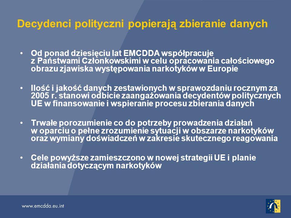 Decydenci polityczni popierają zbieranie danych Od ponad dziesięciu lat EMCDDA współpracuje z Państwami Członkowskimi w celu opracowania całościowego obrazu zjawiska występowania narkotyków w Europie Ilość i jakość danych zestawionych w sprawozdaniu rocznym za 2005 r.