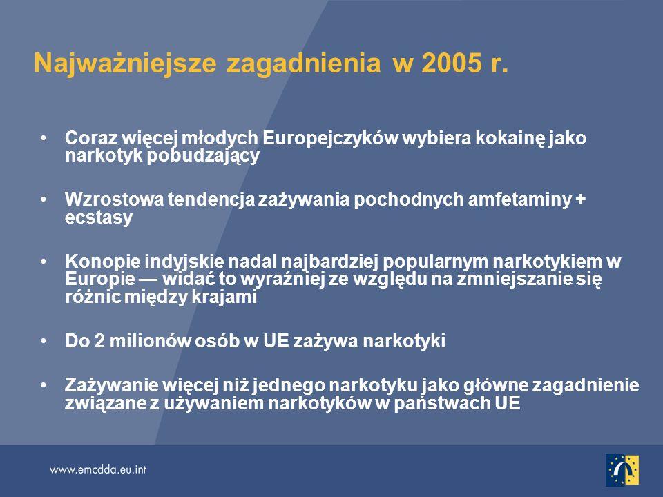 Najważniejsze zagadnienia w 2005 r. Coraz więcej młodych Europejczyków wybiera kokainę jako narkotyk pobudzający Wzrostowa tendencja zażywania pochodn