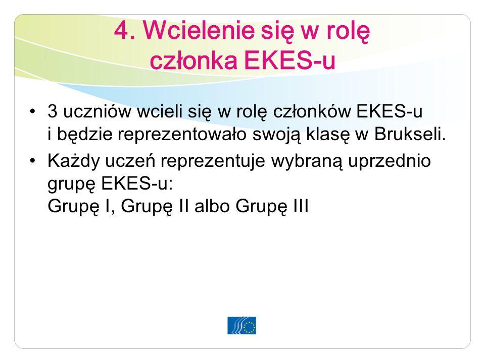 4. Wcielenie się w rolę członka EKES-u 3 uczniów wcieli się w rolę członków EKES-u i będzie reprezentowało swoją klasę w Brukseli. Każdy uczeń repreze
