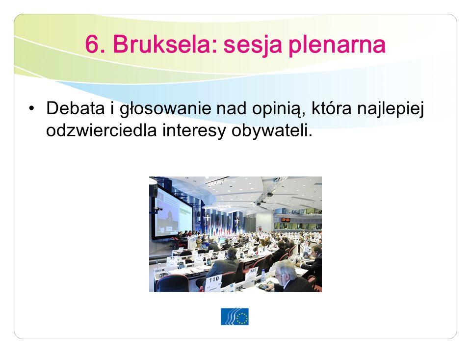 6. Bruksela: sesja plenarna Debata i głosowanie nad opinią, która najlepiej odzwierciedla interesy obywateli.