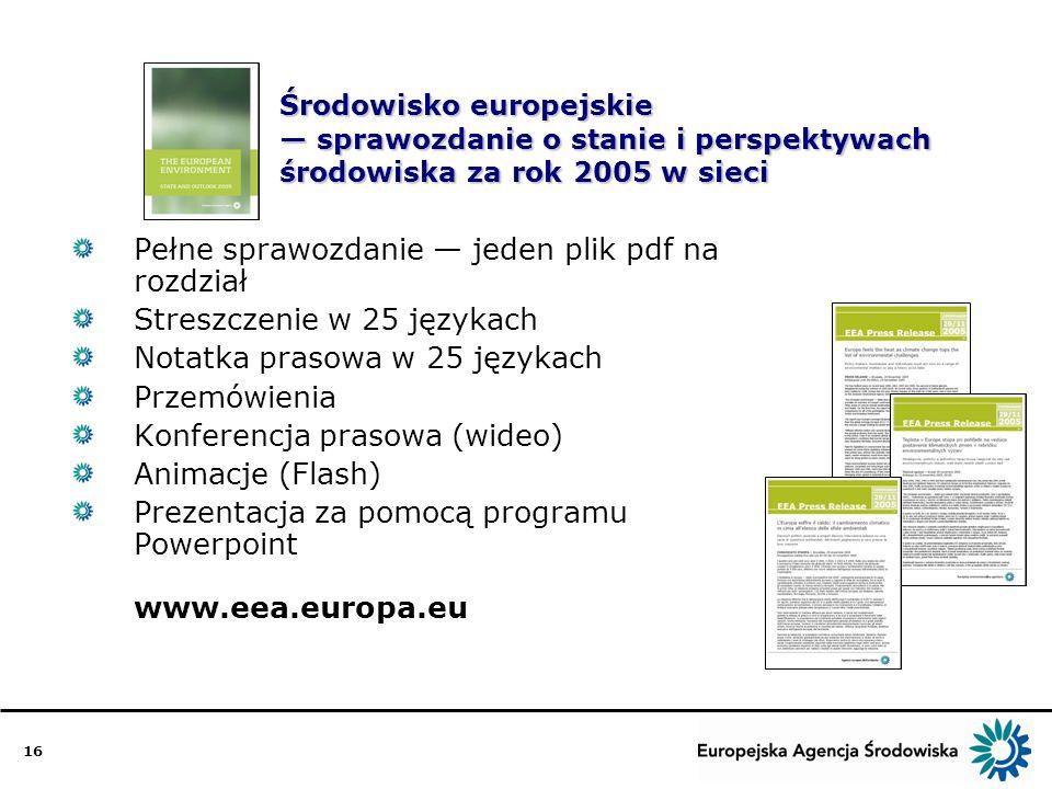 16 Środowisko europejskie sprawozdanie o stanie i perspektywach środowiska za rok 2005 w sieci Pełne sprawozdanie jeden plik pdf na rozdział Streszczenie w 25 językach Notatka prasowa w 25 językach Przemówienia Konferencja prasowa (wideo) Animacje (Flash) Prezentacja za pomocą programu Powerpoint www.eea.europa.eu