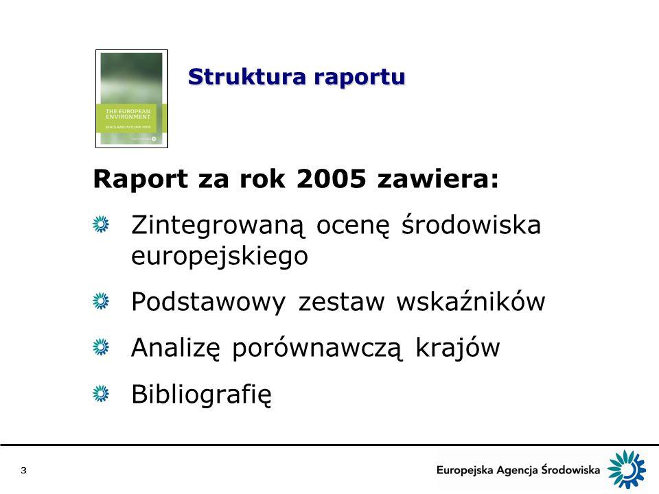 3 Struktura raportu Raport za rok 2005 zawiera: Zintegrowaną ocenę środowiska europejskiego Podstawowy zestaw wskaźników Analizę porównawczą krajów Bibliografię