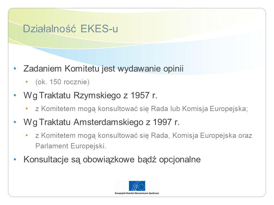 Działalność EKES-u Zadaniem Komitetu jest wydawanie opinii (ok. 150 rocznie) Wg Traktatu Rzymskiego z 1957 r. z Komitetem mogą konsultować się Rada lu