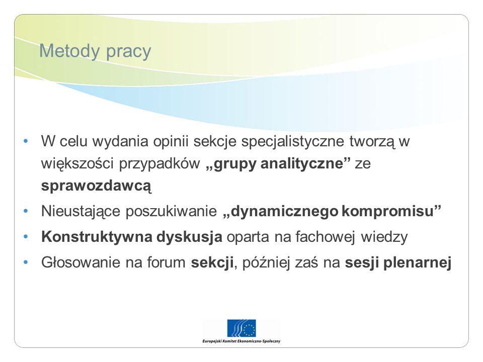 Metody pracy W celu wydania opinii sekcje specjalistyczne tworzą w większości przypadków grupy analityczne ze sprawozdawcą Nieustające poszukiwanie dy