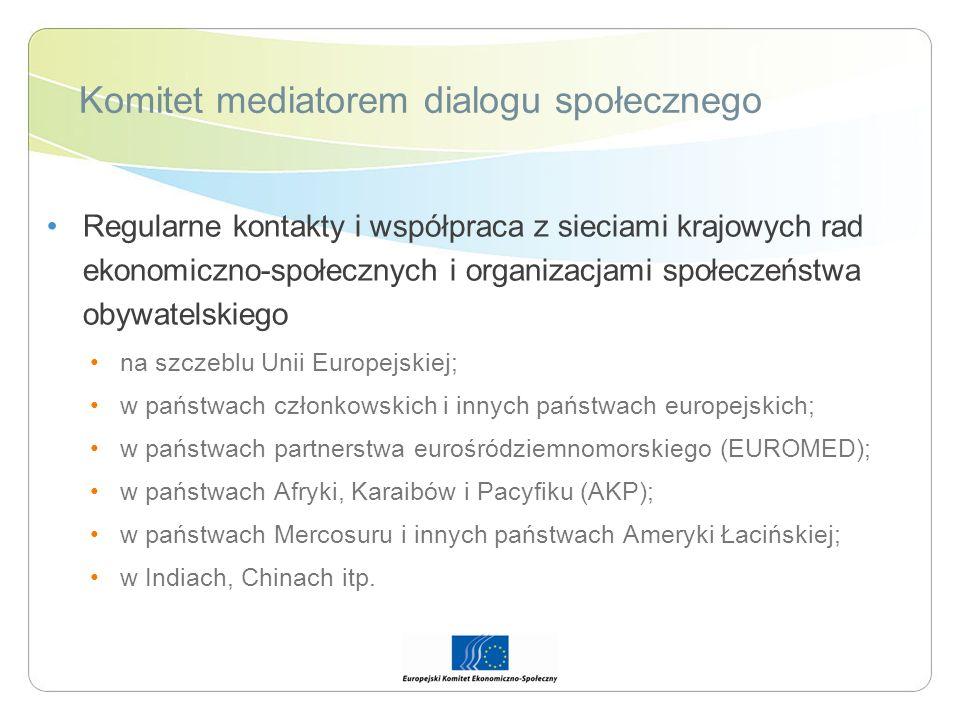 Komitet mediatorem dialogu społecznego Regularne kontakty i współpraca z sieciami krajowych rad ekonomiczno-społecznych i organizacjami społeczeństwa