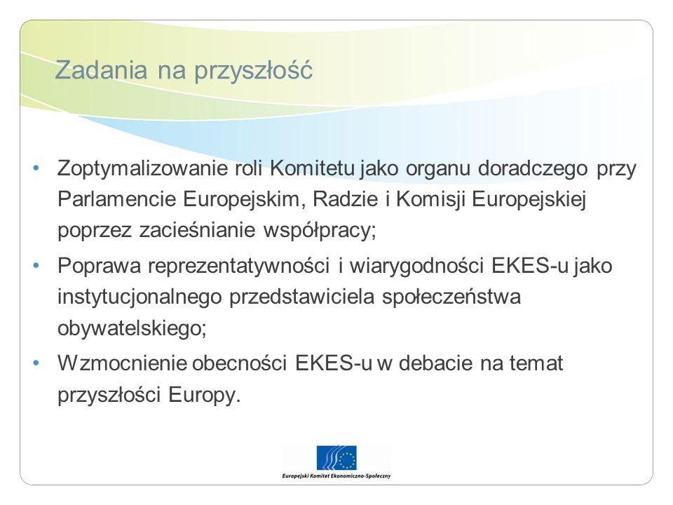 Zadania na przyszłość Zoptymalizowanie roli Komitetu jako organu doradczego przy Parlamencie Europejskim, Radzie i Komisji Europejskiej poprzez zacieś