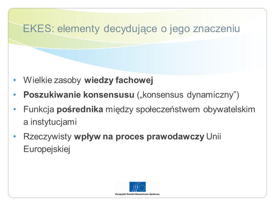EKES: elementy decydujące o jego znaczeniu Wielkie zasoby wiedzy fachowej Poszukiwanie konsensusu (konsensus dynamiczny) Funkcja pośrednika między spo