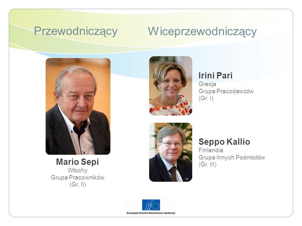 Przewodniczący Wiceprzewodniczący Mario Sepi Włochy Grupa Pracowników (Gr. II) Irini Pari Grecja Grupa Pracodawców (Gr. I) Seppo Kallio Finlandia Grup