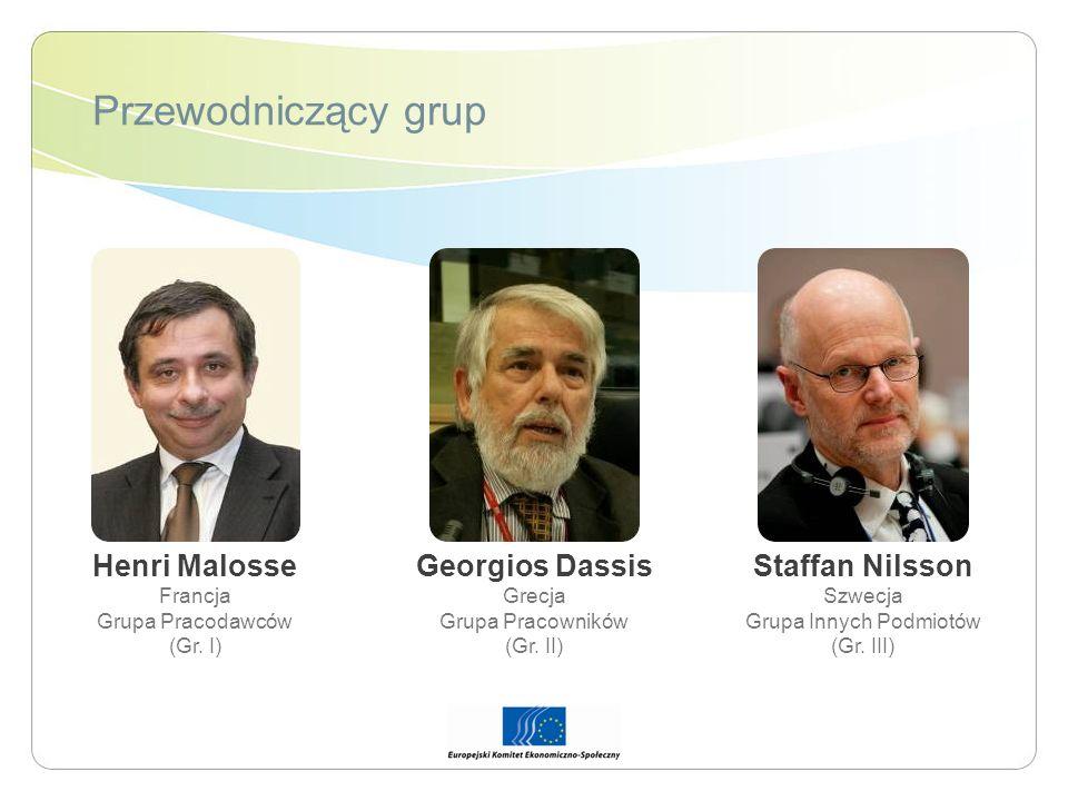 Przewodniczący grup Henri Malosse Francja Grupa Pracodawców (Gr. I) Georgios Dassis Grecja Grupa Pracowników (Gr. II) Staffan Nilsson Szwecja Grupa In