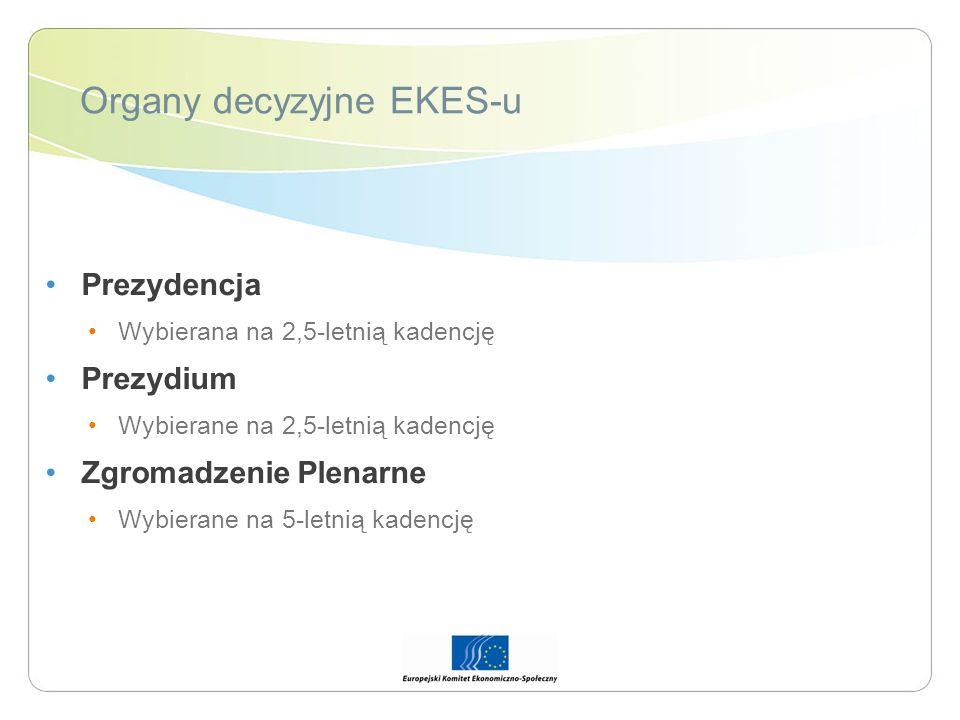 Organy decyzyjne EKES-u Prezydencja Wybierana na 2,5-letnią kadencję Prezydium Wybierane na 2,5-letnią kadencję Zgromadzenie Plenarne Wybierane na 5-l