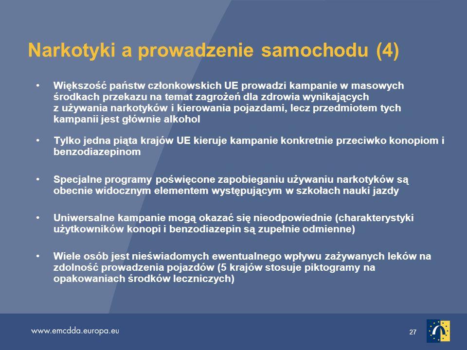 27 Narkotyki a prowadzenie samochodu (4) Większość państw członkowskich UE prowadzi kampanie w masowych środkach przekazu na temat zagrożeń dla zdrowi