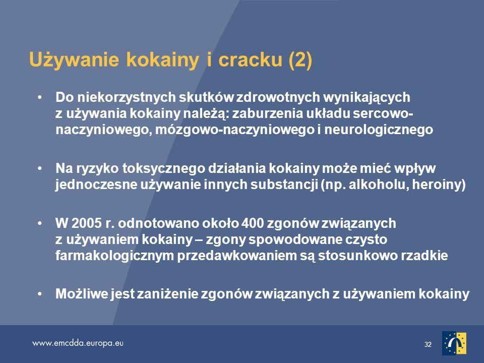32 Używanie kokainy i cracku (2) Do niekorzystnych skutków zdrowotnych wynikających z używania kokainy należą: zaburzenia układu sercowo- naczyniowego
