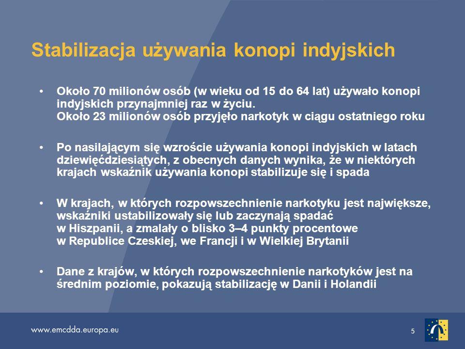 26 Narkotyki a prowadzenie samochodu (3) Wiele krajów zaostrzyło przepisy, zwiększyło sankcje lub zmieniło krajowe strategie mające na celu uporanie się z tym problemem Występuje znaczne zróżnicowanie uregulowań prawnych w poszczególnych krajach w odniesieniu do kierowania pojazdami pod wpływem narkotyków, od przepisów zakładających zero tolerancji (przewidujących sankcje za samo wykrycie obecności substancji) do przepisów dopuszczających uzależnienie oceny poszczególnych przypadków od faktycznego wpływu substancji na sprawność psychofizyczną kierowcy Przepisy typu zero tolerancji dotyczące nielegalnych narkotyków (np.