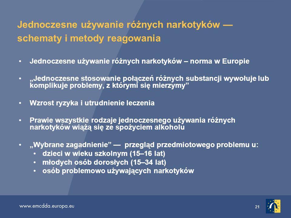 21 Jednoczesne używanie różnych narkotyków schematy i metody reagowania Jednoczesne używanie różnych narkotyków – norma w Europie Jednoczesne stosowan