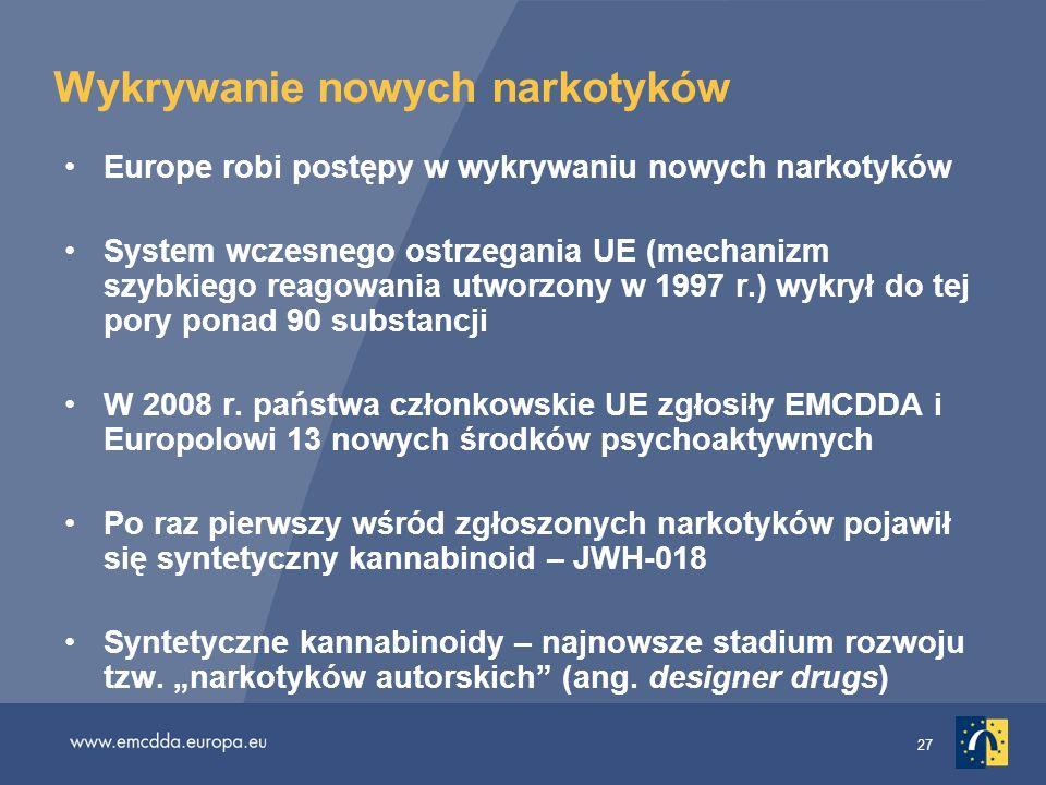 27 Wykrywanie nowych narkotyków Europe robi postępy w wykrywaniu nowych narkotyków System wczesnego ostrzegania UE (mechanizm szybkiego reagowania utw