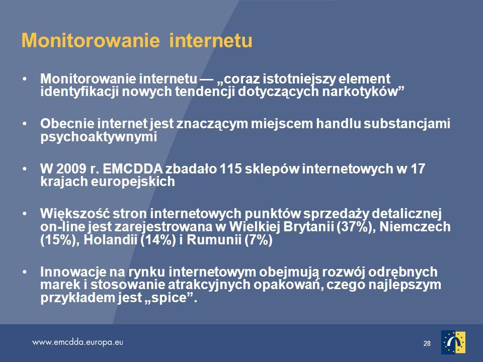 28 Monitorowanie internetu Monitorowanie internetu coraz istotniejszy element identyfikacji nowych tendencji dotyczących narkotyków Obecnie internet j