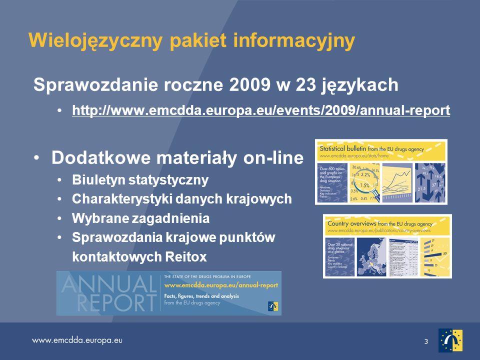 3 Wielojęzyczny pakiet informacyjny Sprawozdanie roczne 2009 w 23 językach http://www.emcdda.europa.eu/events/2009/annual-report Dodatkowe materiały o