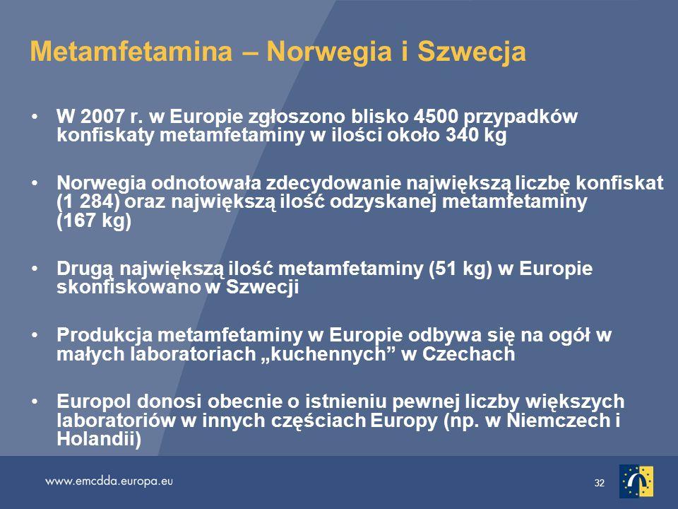 32 Metamfetamina – Norwegia i Szwecja W 2007 r. w Europie zgłoszono blisko 4500 przypadków konfiskaty metamfetaminy w ilości około 340 kg Norwegia odn