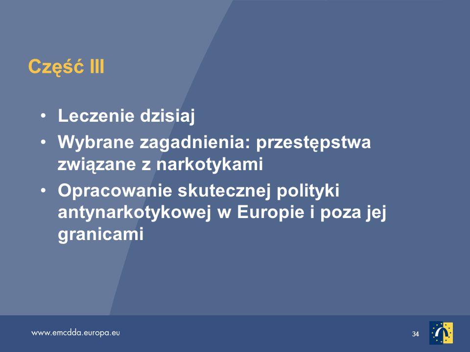 34 Część III Leczenie dzisiaj Wybrane zagadnienia: przestępstwa związane z narkotykami Opracowanie skutecznej polityki antynarkotykowej w Europie i po
