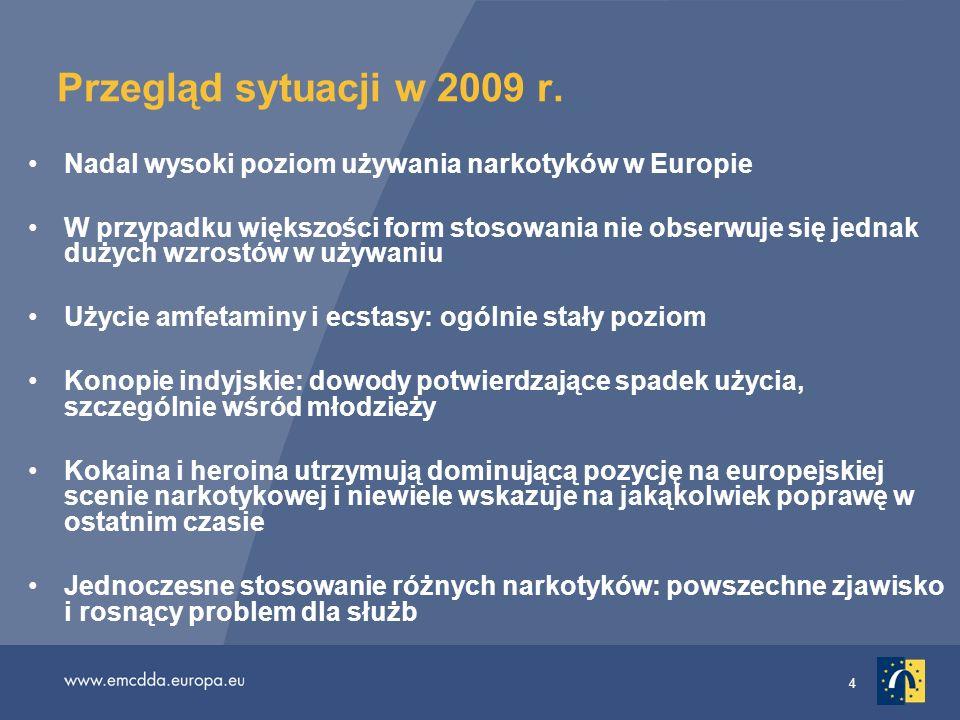 4 Przegląd sytuacji w 2009 r. Nadal wysoki poziom używania narkotyków w Europie W przypadku większości form stosowania nie obserwuje się jednak dużych
