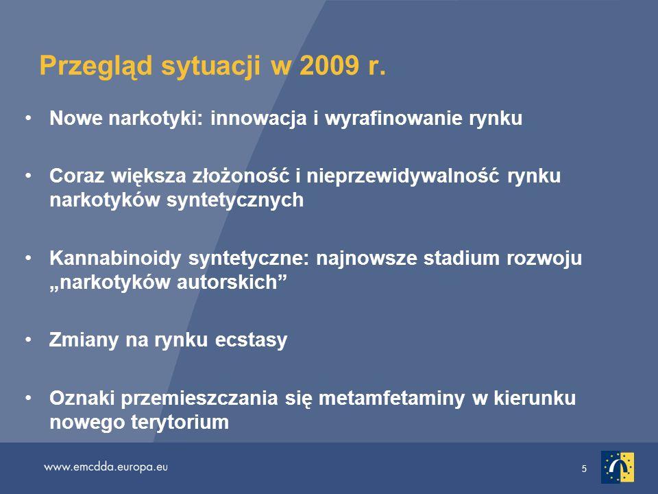5 Przegląd sytuacji w 2009 r. Nowe narkotyki: innowacja i wyrafinowanie rynku Coraz większa złożoność i nieprzewidywalność rynku narkotyków syntetyczn