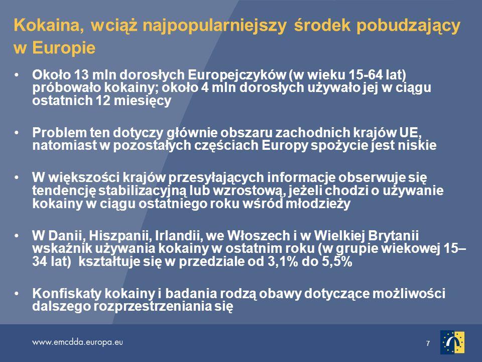 7 Kokaina, wciąż najpopularniejszy środek pobudzający w Europie Około 13 mln dorosłych Europejczyków (w wieku 15-64 lat) próbowało kokainy; około 4 ml