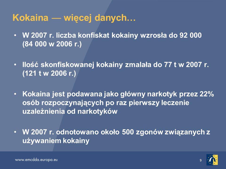 30 Zmiany na rynku ecstasy Większość tabletek ecstasy zbadanych do 2007 r.