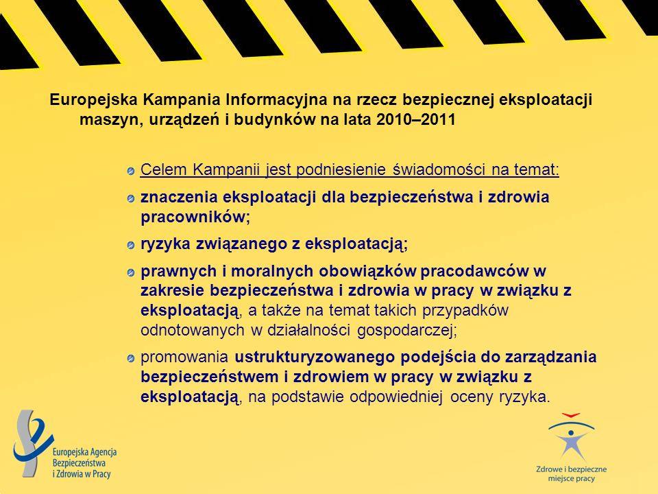 Europejska Kampania Informacyjna na rzecz bezpiecznej eksploatacji maszyn, urządzeń i budynków na lata 2010–2011 Celem Kampanii jest podniesienie świa