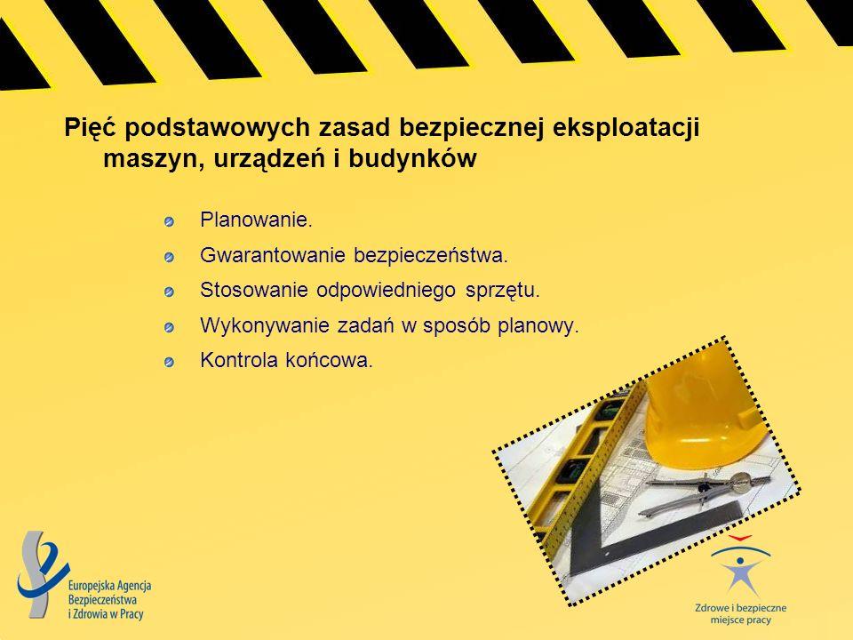 Pięć podstawowych zasad bezpiecznej eksploatacji maszyn, urządzeń i budynków Planowanie. Gwarantowanie bezpieczeństwa. Stosowanie odpowiedniego sprzęt