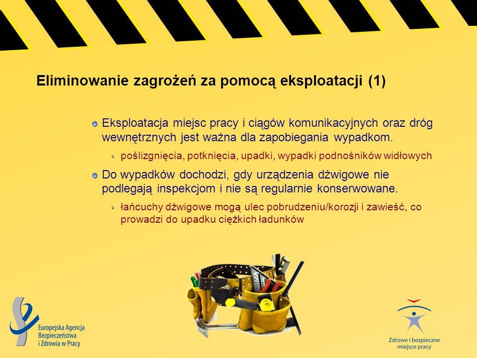 Eliminowanie zagrożeń za pomocą eksploatacji (1) Eksploatacja miejsc pracy i ciągów komunikacyjnych oraz dróg wewnętrznych jest ważna dla zapobiegania