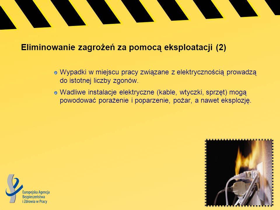 Eliminowanie zagrożeń za pomocą eksploatacji (2) Wypadki w miejscu pracy związane z elektrycznością prowadzą do istotnej liczby zgonów. Wadliwe instal