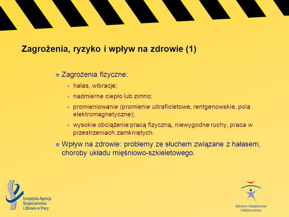 Zagrożenia, ryzyko i wpływ na zdrowie (1) Zagrożenia fizyczne: hałas, wibracje; nadmierne ciepło lub zimno; promieniowanie (promienie ultrafioletowe,